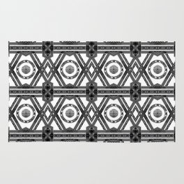 Geometric Black and White Tribal-Inspired Repeat Pattern Rug