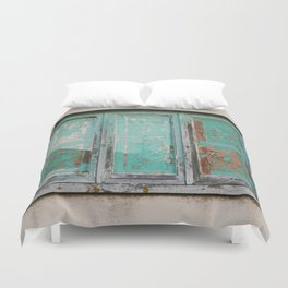 Window with turquoise blinds Duvet Cover