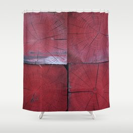 4 red wooden blocks Shower Curtain