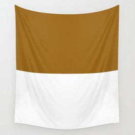 White and Golden Brown Horizontal Halves Wall Tapestry