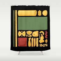 pasta Shower Curtains featuring Pasta Mondrian by Chayground