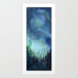 Galaxy Watercolor Aurora Borealis Painting Art Print
