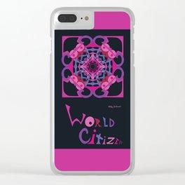 World Citizen Mandala (top bottom) - Fuchsia Black Clear iPhone Case