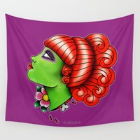 argentina Wall Tapestries featuring Miss Argentina Lady Head by alxbngala