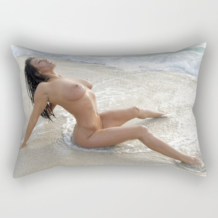 0061-SS Beautiful Naked Woman Nude Beach Sand Surf Big Breasts Long Black Hair Sexy Erotic Art Rectangular Pillow
