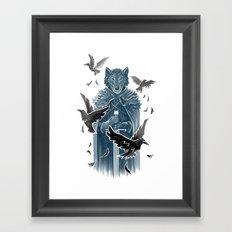 Wolf And Ravens Framed Art Print