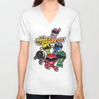 power rangers V-neck T-shirts featuring Power Rangers  by Dik Low