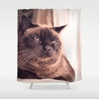 cookie Shower Curtains featuring Cookie by Rachel's Pet Portraits