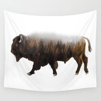 bison Wall Tapestries featuring Forest Bison by Josh Jacobson Photography