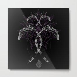Flamingo Skull Metal Print