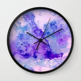 Peacock purple lavender hand painted bright abstract watercolor wash Wall Clock