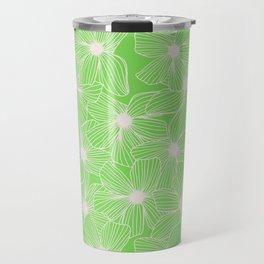 02 White Flowers on Green Travel Mug