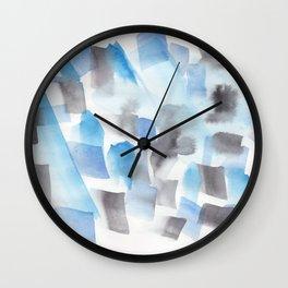 180713 Blue Black Brush Stroke Watercolour| Watercolor Brush Strokes Wall Clock