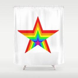 Bright Hypnotic Rainbow Pride Star Shower Curtain