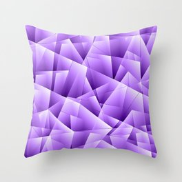 Light overlapping sheets of violet paper triangles. Throw Pillow