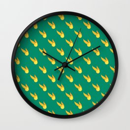 Yellow snitch ball with wings and green background repeat pattern Wall Clock