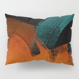 brush stroke black rust red petrol Pillow Sham