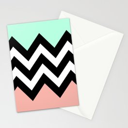 DOUBLE COLORBLOCK CHEVRON {MINT/CORAL/BLACK} Stationery Cards