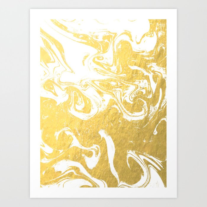 Suminagashi spilled ink gold marble marbled pattern japanese minimalist nursery dorm college Art Print