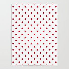 Lipstick red polkadot spot on solid white Poster