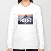 postcard Long Sleeve T-shirts featuring Marquette Postcard by ztwede