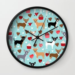 Chihuahua love hearts cupcakes valentines day gift for chiwawa lovers Wall Clock