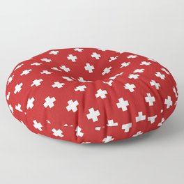White Swiss Cross Pattern on Red background Floor Pillow
