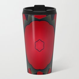 Red and Black Abstract Flower Travel Mug