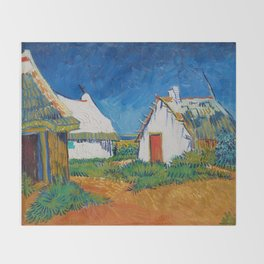Three white cottages in Saintes-Maries by Vincent van Gogh Throw Blanket