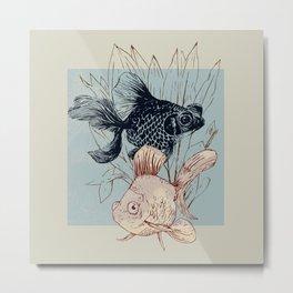 Telescope and golden fish aquarium Metal Print