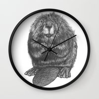 beaver Wall Clocks featuring Beaver by Nasir Nadzir