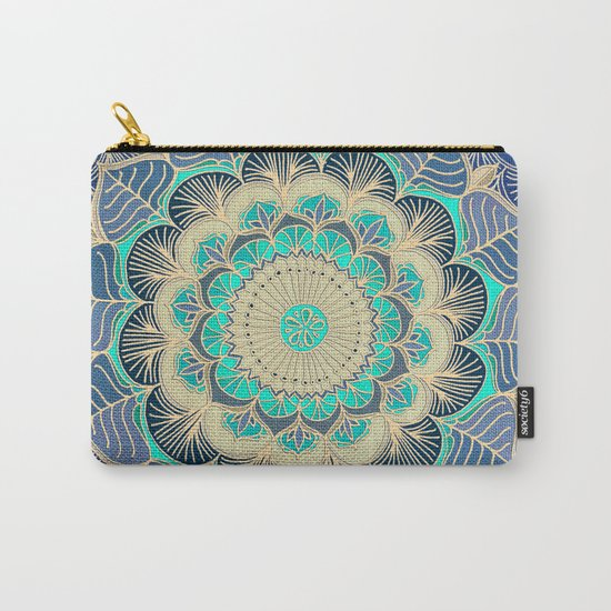 Midnight Bloom - detailed floral doodle in gold, navy blue & mint Carry-All Pouch