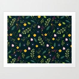 Floral Greenery Pattern I Art Print