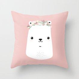 Flower bear Throw Pillow