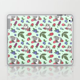 Guinea Pig Pattern in Mint Green Background with mix berries Laptop & iPad Skin