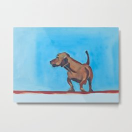 Doxie Dog in Red White and Blue Metal Print