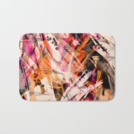 Watercolor vintage seamless background, paint splash, texture of leaves, grasses, plants, cranberry, currants. Abstract background, red, black, white paint splash. Fashionable pattern Bath Mat