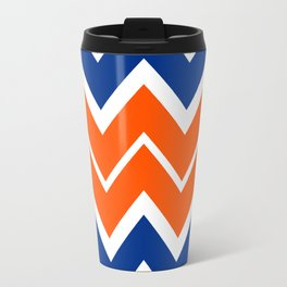 Big Chevron:  Blue + Orange Travel Mug
