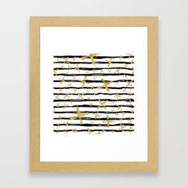 Pattern with brush stripes and gold glitter cross Framed Art Print