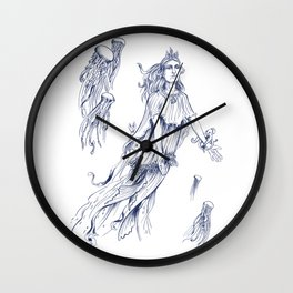 Sea Posse III - Jellyfish, Navy Print Wall Clock