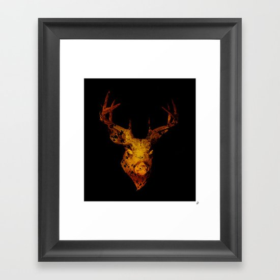 Cervus (Gold Negative Version) Framed Art Print