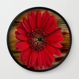 Red Daisy Abstract Wall Clock
