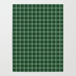 Cal Poly Pomona green - green color - White Lines Grid Pattern Poster
