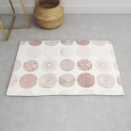 Modern hand drawn faux rose gold stripes dots circles Rug