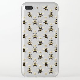 Gold Queen bee / girl power bumble bee pattern Clear iPhone Case