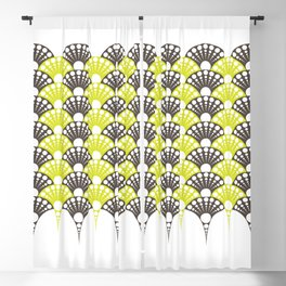 brown and lime art deco inspired fan pattern Blackout Curtain