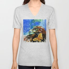 Golden Eagle And Butterfly by Kathy Morton Stanion Unisex V-Neck