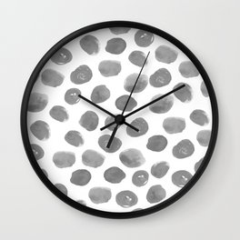Grayson - grey and white modern brushstroke monochromatic dots abstract painting design hipster art Wall Clock
