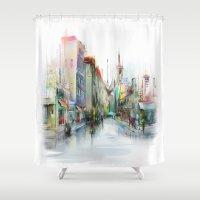 street Shower Curtains featuring street by tatiana-teni