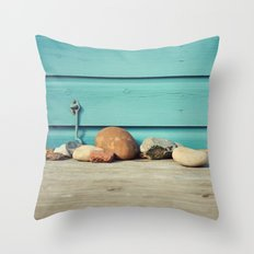 Beach Hut Stones Throw Pillow